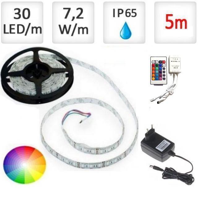 LED21 LED pásek 5m RGB 5050, 30 LED/m, 36W, IP65, sada